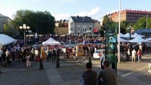 Judokonkurranse midt i Stockholm sentrum.