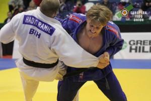Reitan kaster Ramic i bronsefinalen i Sarajevo EC 2016. Foto: EJU