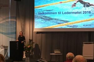 Kulturminister Linda Hofstad Helleland åpner Ledermøtet 2016.  FOTO: Geir Reehorst